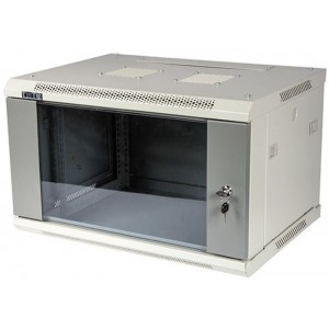"""TWT-CBWPG-6U-6x4-GY Шкаф настенный 19"""" 6U 600x450, стеклянная дверь, разборный"""