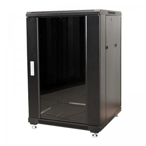 """Шкаф 22U 600x600 напольный серверный 19"""" MDX-R-22U60-60-GS-BK, передняя дверь со стеклом, задняя спл"""