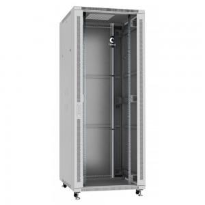 """Cabeus Шкаф 42U телекоммуникационный 19"""" напольный 800x1000 дверь стекло, ручка с замком, цвет серый"""