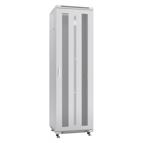 """Шкаф 19"""" 47U Cabeus напольный телекоммуникационный 600x600 серый, разборный, дверь перфорированная ND-05C-47U60/60"""
