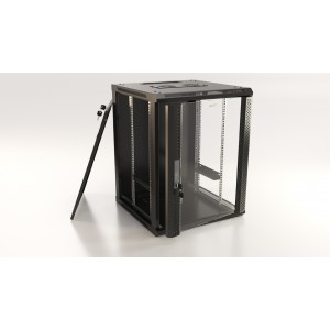 """Шкаф напольный 19"""" 6U, 367x600х450мм, стеклянная дверь с перфорацией по бокам, ручка с замком"""