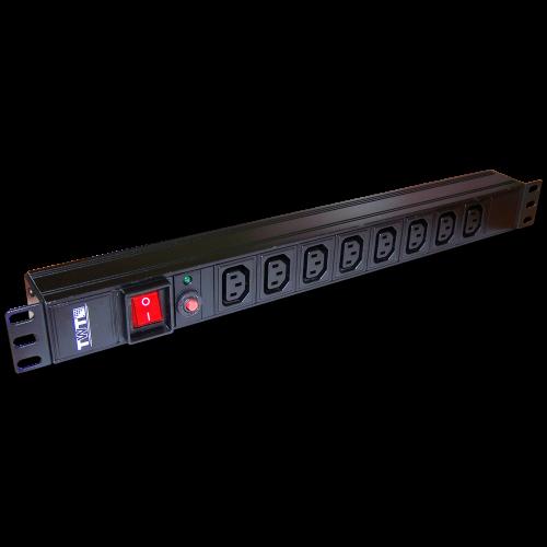 """Блок розеток 19"""" 8 шт. C13, 10A 250V, без шнура питания TWT-PDU19-10A8C3"""