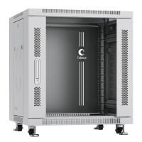 """Cabeus Шкаф 19"""" 12U напольный телекоммуникационный 600x600 серый, разборный, дверь стекло"""