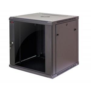 """Шкаф 15U 19"""" настенный MDX 450 мм, дверь стекло, черный,.разборный"""