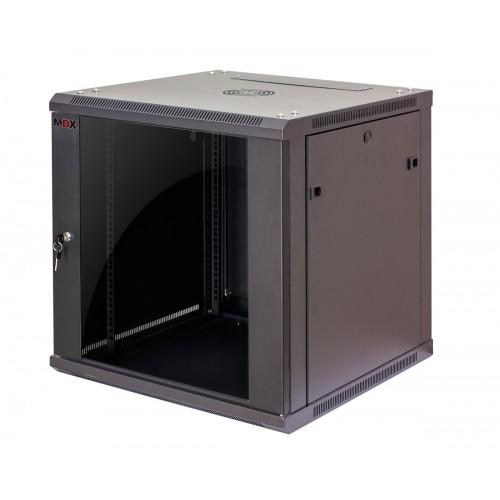 """Шкаф 19"""" MDX настенный 15U, глубина 450мм, дверь стекло, черный. MDX-CW2-15U-6х4"""