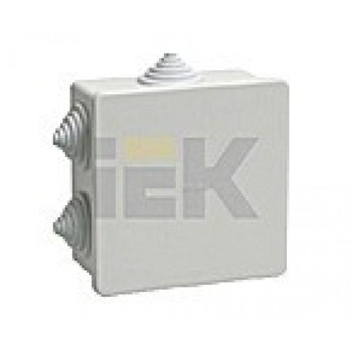 Коробка КМ41233 распаячная для о/п 100х100х50мм IP44 (RAL7035, 6 гермовводов) ИЭК UKO11-100-100-050-K41-44