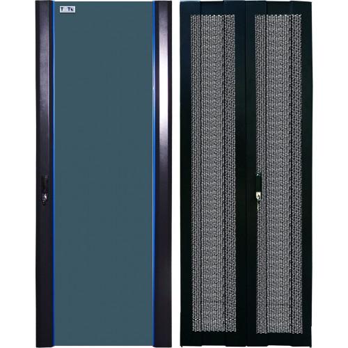 Комплект дверей 42U, 600 мм, черный, передняя - стекло, задняя - распашная перфорированная TWT-CBB-DR42-6x-S-GP