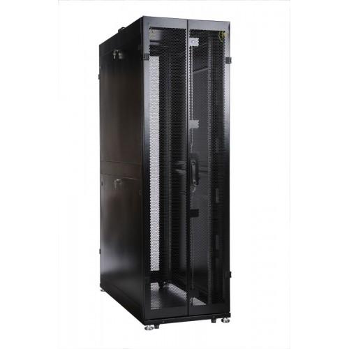 Шкаф ЦМО серверный ПРОФ напольный 48U (600x1000) дверь перфор., задние двойные перфор., в сборе ШТК-СП-48.6.10-48АА-9005