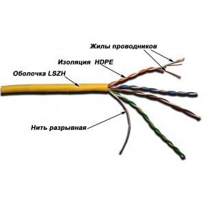 LAN-5EUTP-PT-LSZH Кабель патч-кордовый UTP, 4 пары, категория 5E, LSZH, оранжевый, 305 м