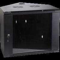 TWT-CBWTG-4U-6x6-BK Шкаф настенный угловой, 4U 600x600, стеклянная дверь, черный