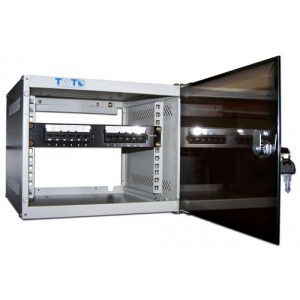 """Шкаф 10"""" 6U настенный TWT Lite, 300x310, стеклянная дверь разборный"""