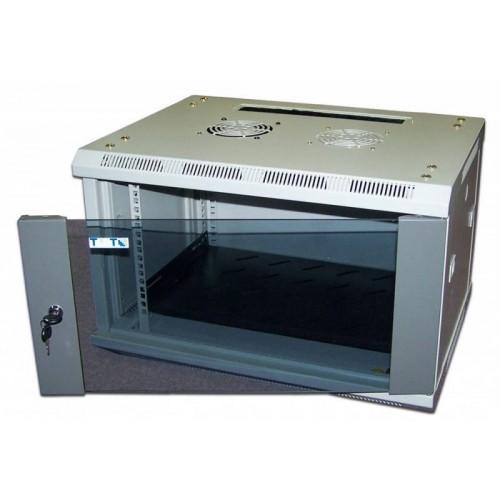 """Шкаф TWT настенный 19"""" 15U 600x600, стеклянная дверь TWT-CBW2-15U-6x6"""