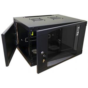 """Шкаф 6U 19"""" настенный 550x600, TWT-CBWNG-6U-6x6-BK, стеклянная дверь, черный, разборный"""