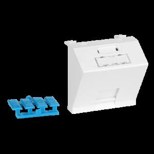 Вставка 45x45 на 1 кейстоун, угловая, со шторкой, маркировкой и иконками, белая