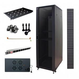 """Шкаф 19"""" SET1G серверный MDX 42U 600x800 передняя дверь стекло, задня метал, комплект - тип 1"""
