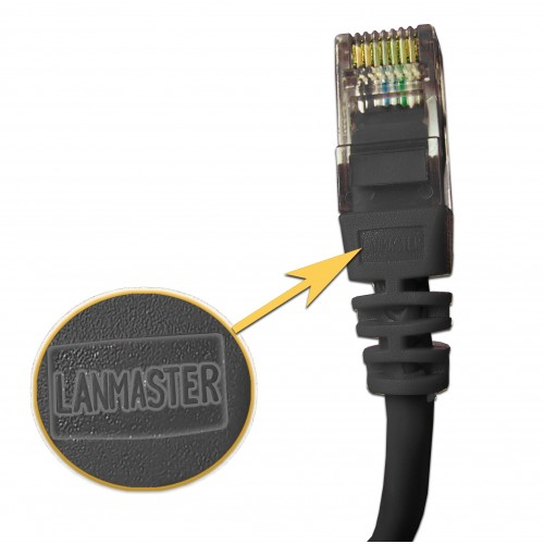 Патч-корд RJ45 UTP кат 5Е шнур медный LANMASTER 1.5 м черный LAN-45-45-1.5-BK