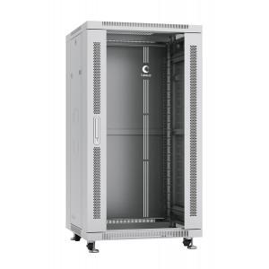 """Cabeus Шкаф 19"""" 22U напольный телекоммуникационный 600x600 серый, разборный, дверь стекло"""