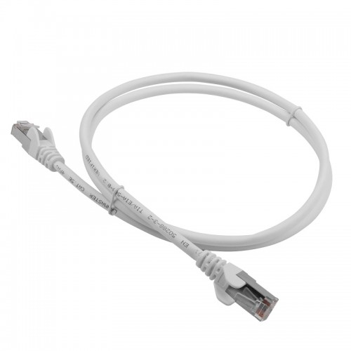 Патч-корд RJ45 кат 6A FTP шнур медный экранированный LANMASTER 0.5 м LSZH белый LAN-PC45/S6A-0.5-WH