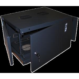 """Шкаф 6U 19"""" настенный 550x450, TWT Next, металлическая дверь, черный, разборный"""
