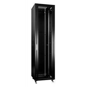 """Cabeus Шкаф 19"""" 47U напольный телекоммуникационный 600x600 черный, разборный, дверь стекло"""