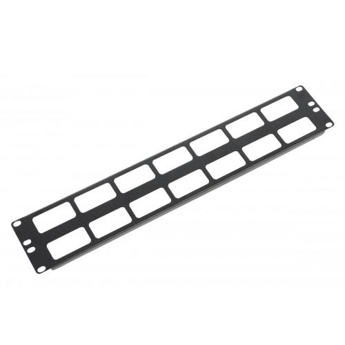 """Органайзер кабельный горизонтальный 19"""" 2U с окнами для кабеля, цвет черный ГКО-О-2-9005"""