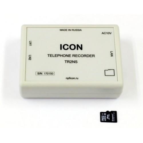 Автономное двухканальное устройство записи телефонных переговоров с сетевым доступом TR2NS TR2NS