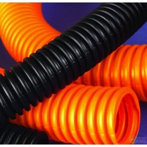 Труба гофрированная 50мм, ПНД, легкая, не распространяет горение, с протяжкой, оранжевый, (15м)