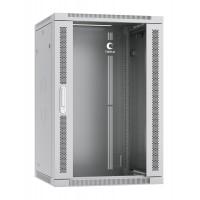 """Cabeus SH-05F-18U60/45 Шкаф  настенный 18U 19"""" 600x450 mm телекоммуникационный дверь стекло, серый"""