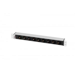 "Блок розеток Rem-10 без шнура с инд., 9 Sсhuko, вход IEC 60320 C14, 10A, алюм., 19"""