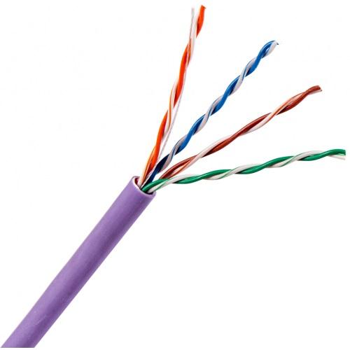 Кабель витая пара TWT UTP, 4 пары, Категория 6, нг(А)-LS, IEC 60332-3, бухта 305 метров, фиолетовый TWT-6UTP-NGLS