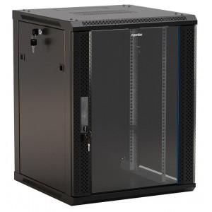 """Шкаф напольный 19"""" 12U, 650x600х600мм, стеклянная дверь с перфор., с возможностью установки на ножки"""