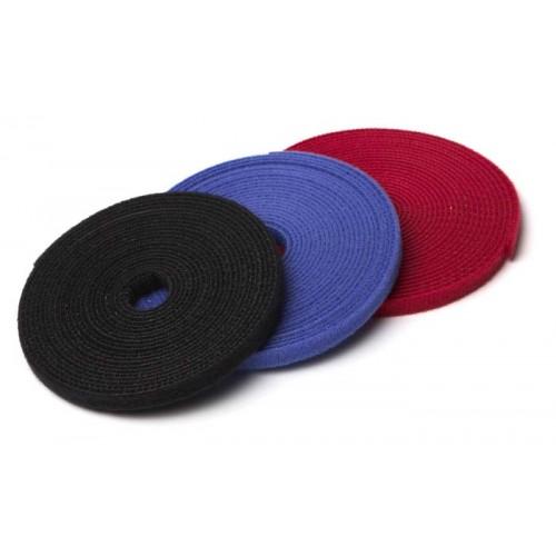 Рулон липучки, 5м х 9мм, цвет красный WASR-5x9-RD