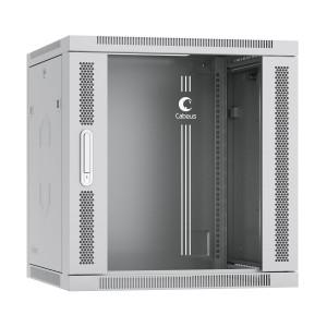 """SH-05F-12U60-60 Шкаф 19"""" 12U 600x600 Cabeus телекоммуникационный настенный, дверь стекло, серый"""