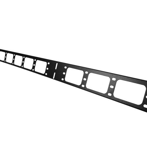 Вертикальный кабельный органайзер в шкаф, ширина 75 мм 42U, цвет черный ВКО-М-42.75-9005
