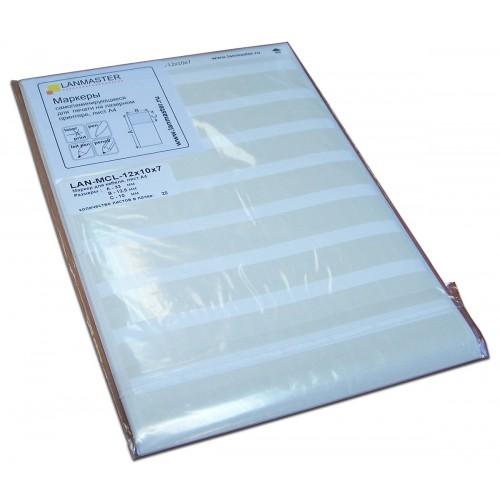 Маркер самоклеющийся, л.А4, 134х7, для патч-панелей, белый, 35  шт/л. LAN-MPL-134x7-WH