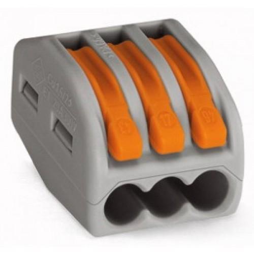 Клемма на 3 проводника (с рычагами) 3x0,08-4/2,5 мм2 (WAGO) 222-413