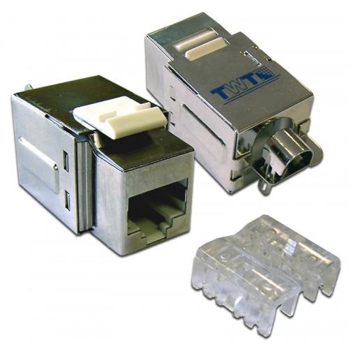 Модуль Keystone, RJ45 Port, Cat.5E, STP тип 110, экранированный с крышкой, TWT-OK45STP-110WH TWT-OK45STP-110WH