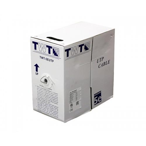 Кабель витая пара TWT UTP, 4 пары, Кат.5e, PVC, серый, 305 метров, Серый TWT-5EUTP