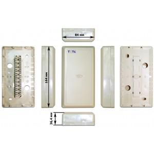 Настенная коробка с установленными плинтами, 1 размыкаемый плинт, 10 пар, пластик TWT-DB10-1P-DIS