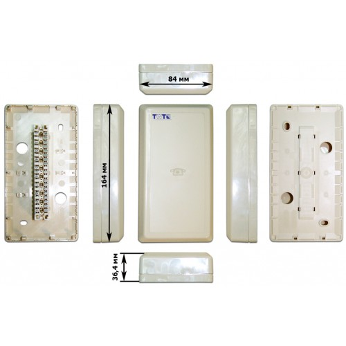 Настенная коробка с установленными плинтами, 1 размыкаемый плинт, 10 пар, пластик TWT-DB10-1P-DIS TWT-DB10-1P-DIS