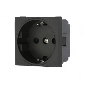 Розетка электрическая 45x50, немецкий стандарт 2K+3 16A черная AVE