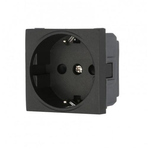 Розетка электрическая 45x50, немецкий стандарт 2K+3 16A черная AVE ES45390TS