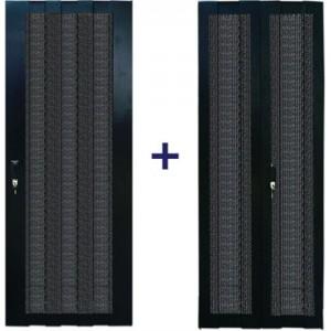 Комплект дверей 27U, 600 мм, черный, передняя - перфорированная, задняя - распашная перфорированная