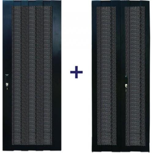 Комплект дверей 27U, 600 мм, черный, передняя - перфорированная, задняя - распашная перфорированная TWT-CBB-DR27-6x-S-P1