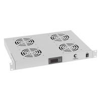 """Cabeus Модуль вентиляторный 19"""" 1U 4 вентилятора, с цифровым термодатчиком глубина 320 mm серый"""