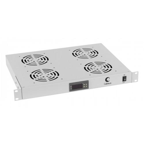 """Cabeus Модуль вентиляторный 19"""" 1U 4 вентилятора, с цифровым термодатчиком глубина 320 mm серый JG03t"""