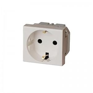 Розетка электрическая 45x50, немецкий стандарт 2K+3 16A белая AVE