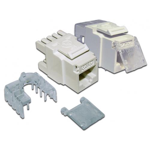 Модуль Keystone, RJ45, кат.5E, UTP, 180 градусов, со шторкой, белый LAN-OK45U5E/180-WH