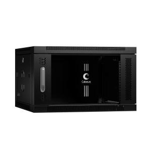 """SH-05F-6U60-60-BK Шкаф 19"""" 6U 600x600 телекоммуникационный настенный, дверь стекло, черный, Cabeus"""