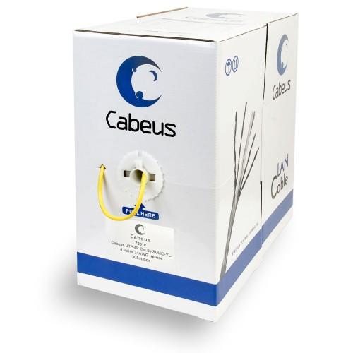 Кабель Cabeus UTP, категория 5e, 4 пары U/UTP витая пара 0,51мм 24 AWG, желтый 305 м UTP-4P-Cat.5e-SOLID-YL UTP-4P-Cat.5e-SOLID-YL